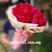 99 Stalks Mix Red & Cherry Pink Roses Bouquet