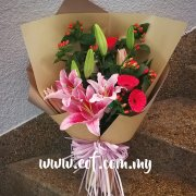 Pink Lilies with Gerberas Bouquet